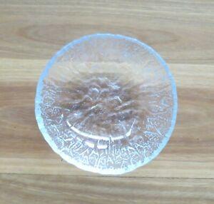 Vintage MCM Ice Bark Textured Small Crystal Glass Bowl. c1970s