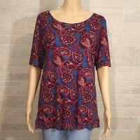 Loft Misses MEDIUM Pullover Shirt Top Red Blue Paisley Ballet Neck Rayon Knit