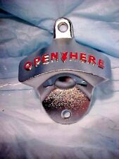 "BOTTLE OPENER  CLASSIC OLD-FASHIONED  WALL MOUNT  METAL ""OPEN HERE""  W/HARDWARE"