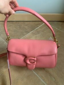 New COACH Pillow Tabby Brass/Candy Pink Leather Shoulder Bag 18 # C0772