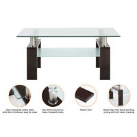 NEW Modern Center Tables Rectangle Glass Coffee Table Living Room coffee Table