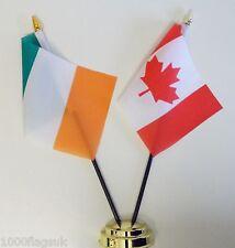 Ireland & Canada Double Friendship Table Flag Set