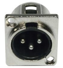 XLR Einbaubuchse male 3-pol D-Typ Einbaukupplung Stecker-Buchse 3 pol D-Form
