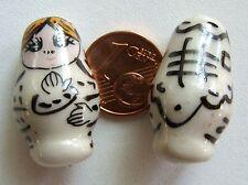 2 perles POUPEE RUSSE matriochka porcelaine 25mm VERT DIY Bijoux Loisirs Déco