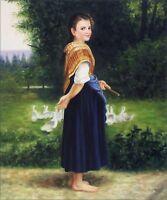 Quality Hand Painted Oil Painting Repro Bouguereau The Goose 20x24in