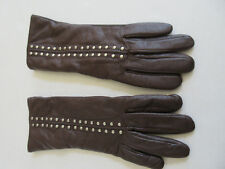 Michael Kors Leather Gloves Studded Cashmere Wool Lining  Brown Size 7