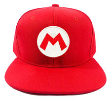 SUPER MARIO LUIGI BROS RED LOGO EMBROIDERED BASEBALL CAP ADJUSTABLE SNAPBACK