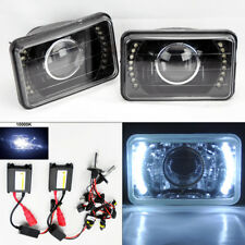 "4X6"" 10K HID Xenon H4 Projector Black LED DRL Glass Headlight Conversion Pair"