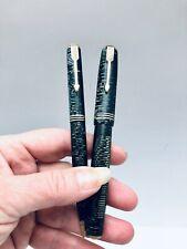 Vintage Parker Vacumatic  Fountain Pen & Mechanical Pencil Green Pearl Stripe