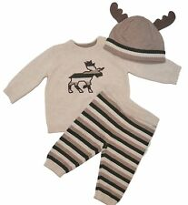 Gymboree Forest Sprouts 6-12 mo Moose Sweater Set Hat Set Green Tan Fall