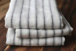 Towels set of Three 100% Linen Neutral Stripe