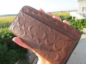 NEW COACH leather wallet 24667 mens brown zip around accordion $275 signature