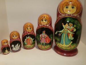 Vintage Wooden Russian Nesting Dolls - matryoshka - Fairy Tale - Set Of 5 Signed