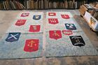 """Set @ 2 Vintage Hand Hooked Rug 4' x 9' """"The Twelve Apostles"""" Religious Tapestry"""