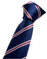 Men's Skinny Navy Blue and Red Striped Patterned Handmade Tie King's Men UK