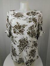 Karen Scott Plus Size Boat Neck 3/4 Sleeve Top 3X Brown Clay Floral #3908