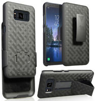 Black Kickstand Case Cover + Belt Clip Holster for Samsung Galaxy S8 Active