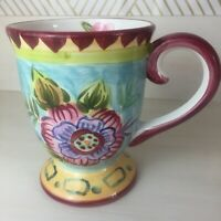Maxcera Pansy Fancy Pedestal QCF-15 Floral Blue Yellow Mug Coffee Tea Cup