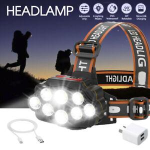 1x USB Rechargeable Head Light 8 LED Headlight Head Lamp Waterproof Head Torch