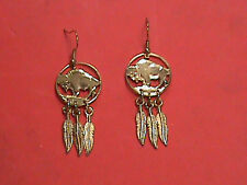 Hand Cut Indian Head Nickel 24 kt Gold Plated and Mounted as Earrings