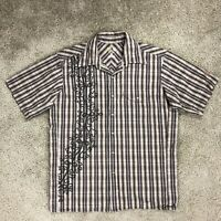 Mountain Hardwear Mens Medium Brown Stripe Pearl Snap Short Sleeve Hiking Shirt