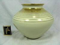 Well shaped  60´s design Fürstenberg Porzellan Vase polished gold decoration 16