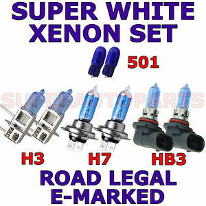 FITS CHRYSLER PT CRUISER 2000-on SET H3 H7 HB3 501 XENON LIGHT BULBS
