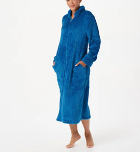 Stan Herman - Silky Shag Plush Petite or Regular Length Zip-Up Robe -  Deep Teal