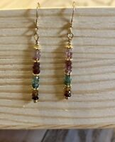 Multi Colored Tourmaline Stack Earrings, Gold Filled Accents & Earwires New