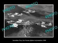 OLD POSTCARD SIZE PHOTO AUSTRALIAN NAVY SEA VENOM FIGHTERS IN FORMATION c1960