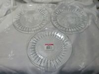 "SET OF 3 LUMINARC DIAMANT CLEAR GLASS DESSERT PLATES 7 3/8"" NEW"