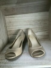 Cole Haan | Air Shoes Size 7 B Tali Wedge Heel Leather Open Peep Toe Womens Nude