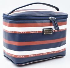 TOMMY HILFIGER Large Striped Cosmetic Toiletries Bag, Vanity Bag, Navy/Red/White