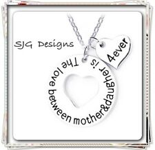 """""""THE LOVE BETWEEN A MOTHER AND DAUGHTER IS 4 ever """" pendent - Silver"""
