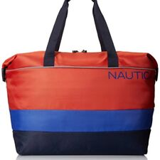 New Nautica 20' Weekender Head Sail Duffle Luggage Orange Navy Blue Color Block
