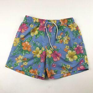"Polo Ralph Lauren Mens Blue Hawaiian Board Shorts Swim Trunks Medium x 6"" Inseam"