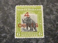 NORTH BORNEO POSTAGE & REVENUE STAMP SG187 4C ON 6C MOUNTED-MINT
