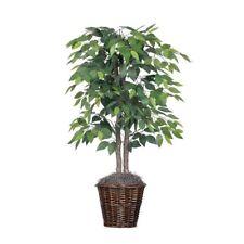 Artificial Natural Ficus Bush 4 Ft Dark Green Leaves Decorative Rattan Pot Tree