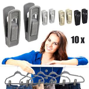 10x Non Slip Velvet Hangers Clips for Flocked Trouser Coat Clothes Pant Clips