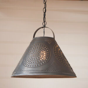 Homestead Kettle Black Punched Tin Country Farmhouse Pendant Ceiling Light