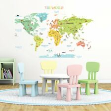 Decowall Colourful World Map Nursery Kids Wall Stickers Decal DLT-1616N