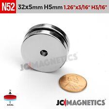 "2pcs 32mm x 5mm Hole 5mm N52 Rare Earth Neodymium Magnet Ring Disc 1 1/4""x3/16"""