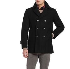TOMMY HILFIGER BRADY FISHERMANS DOUBLE BREASTED PEA COAT, BLACK, 42 REGULAR, NEW
