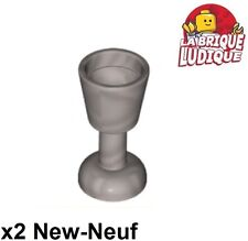 Lego - 2x Minifig utensil verre goblet glass argent/flat silver 2343 NEUF
