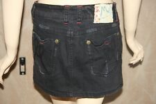MARLOW VTG S Destroyed Black Red Mini Skirt Jeans Gothic Goth Urban Womens 26
