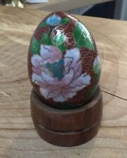 """Chinese cloisonne egg and stand """"birds and floral"""""""