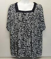 Maggie Barnes 3X Shirt Top Blouse 26 28 Square Neck Black White Animal Print