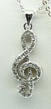 "18"" Silver Tone Clear Rhinestone Music Note Charm Necklace"