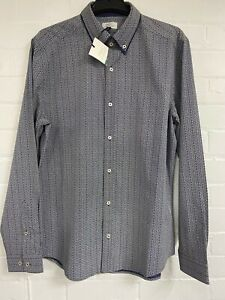 Ex Next  Pure Cotton Mens Navy  Long Sleeve  Shirt Size S - M - L -XL -XXL  XXXL