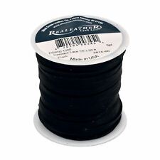 "Realeather Craft Lace Spool Genuine Deerskin Lace 1/8"" 50 Foot Roll Black"